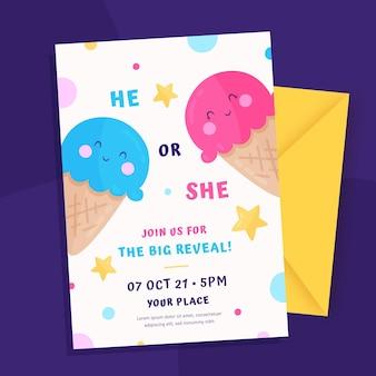 Platte ontwerp gender reveal uitnodigingssjabloon