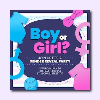 Platte ontwerp gender reveal uitnodigingssjabloon Gratis Vector