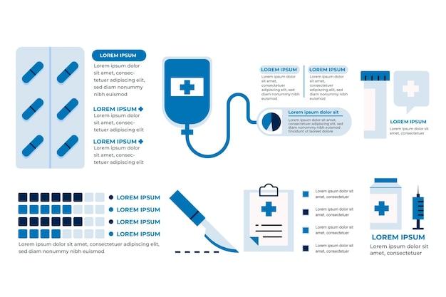Platte ontwerp geneeskunde infographics