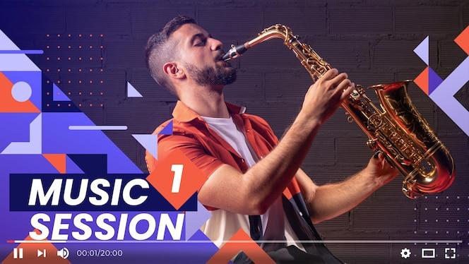 Platte ontwerp geometrische muziek youtube thumbnail met verschillende vormen