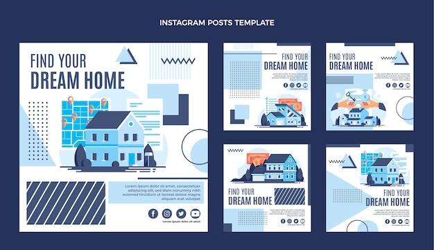 Platte ontwerp geometrische onroerend goed instagram post