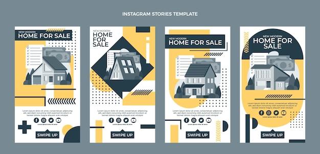 Platte ontwerp geometrische onroerend goed instagram verhalen