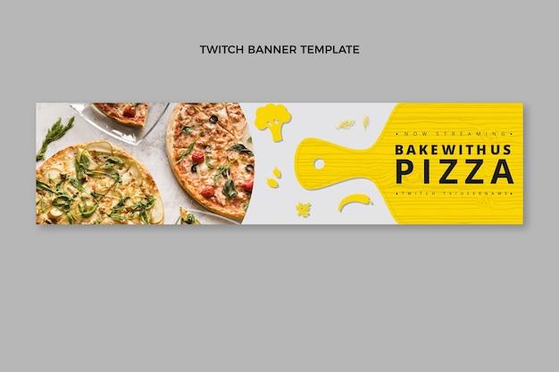 Platte ontwerp gezonde pizza twitch banner