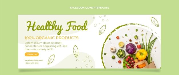 Platte ontwerp gezonde voeding facebook cover