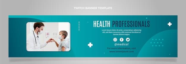 Platte ontwerp gezondheidswerkers twitch banner