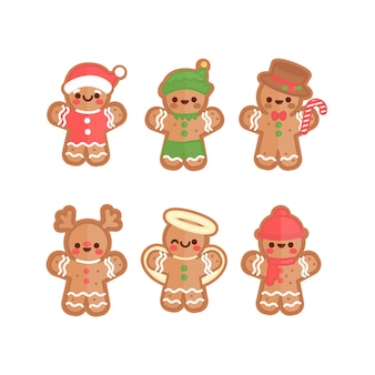Platte ontwerp gingerbread man cookie-collectie