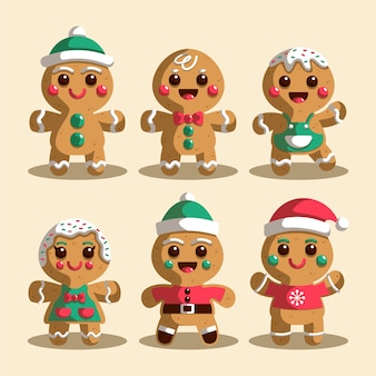 Platte ontwerp gingerbread man cookie-collectie