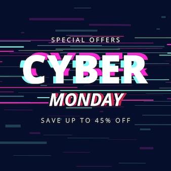 Platte ontwerp glitch cyber maandag