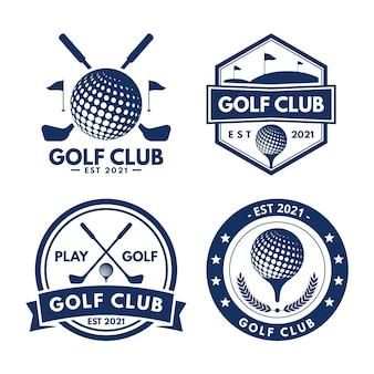 Platte ontwerp golf logo collectie