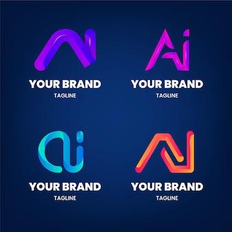 Platte ontwerp gradiënt ai logo sjabloonpakket