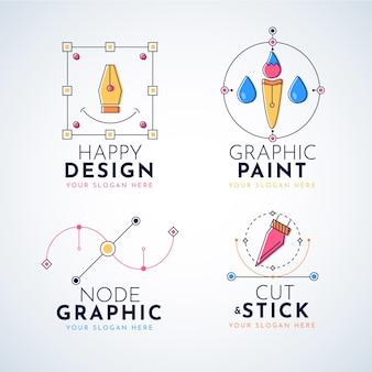 Platte ontwerp grafisch ontwerper logo-collectie