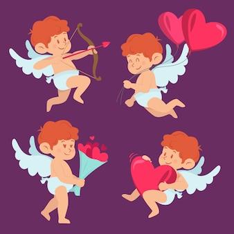 Platte ontwerp grappige cupid tekenset