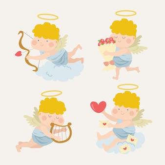 Platte ontwerp grappige cupido karakter pack