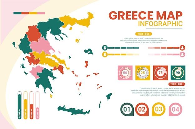Platte ontwerp griekenland kaart infographic