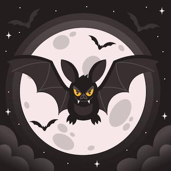 Platte ontwerp griezelige halloween-vleermuis