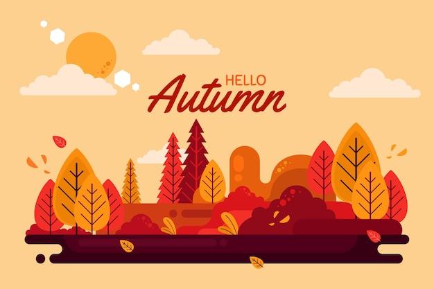 Platte ontwerp hallo herfst achtergrond