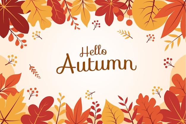 Platte ontwerp hallo herfstbladeren achtergrondsjabloon voor banners, flyers en andere