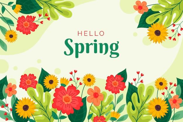 Platte ontwerp hallo lente achtergrond
