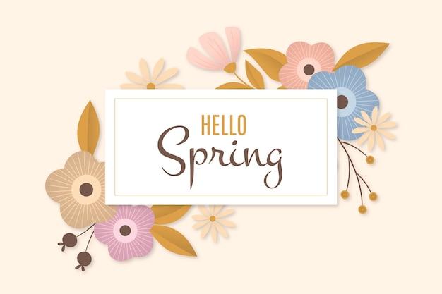 Platte ontwerp hallo lente kleurrijke bloemen frame