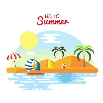 Platte ontwerp hallo zomer concept
