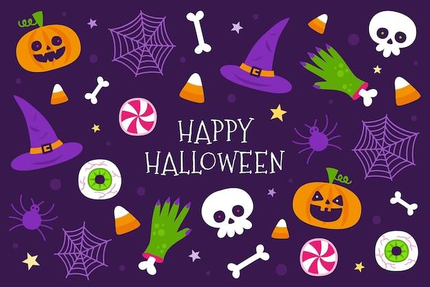 Platte ontwerp halloween achtergrond met elementen collectie