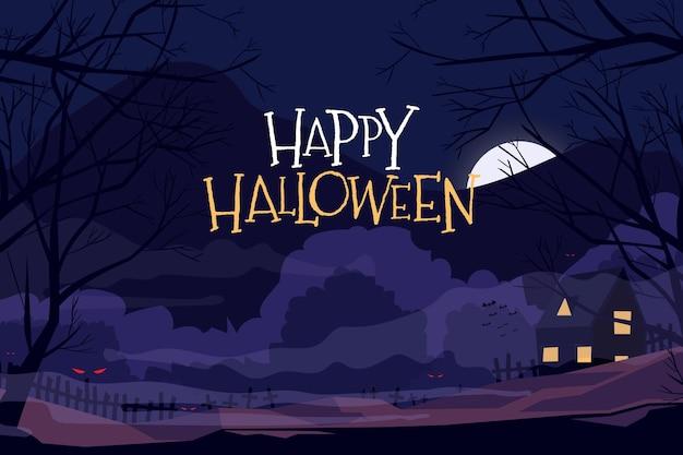 Platte ontwerp halloween achtergrond met landschap