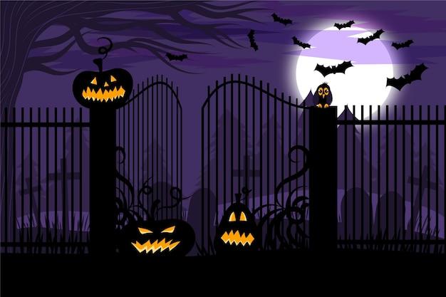 Platte ontwerp halloween achtergrond met pompoenen