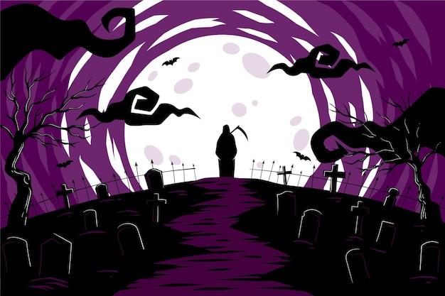 Platte ontwerp halloween achtergrond