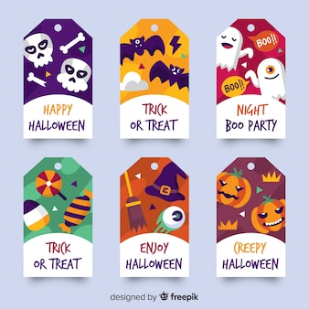 Platte ontwerp halloween badge collectie