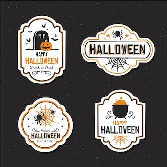Platte ontwerp halloween badge collectie
