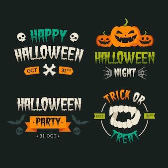 Platte ontwerp halloween badge set