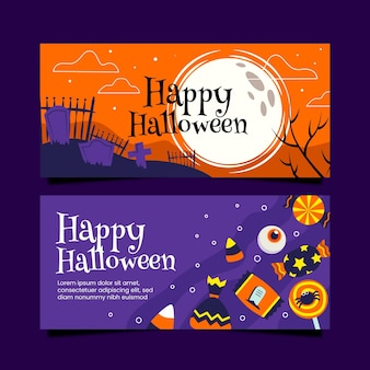 Platte ontwerp halloween banners collectie