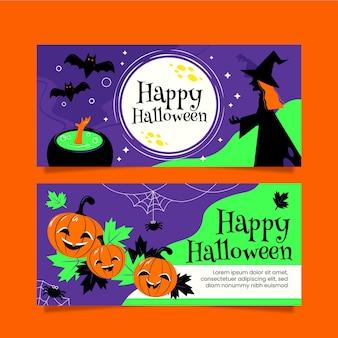 Platte ontwerp halloween banners instellen