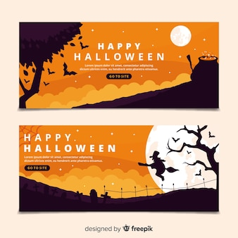 Platte ontwerp halloween banners sjabloon