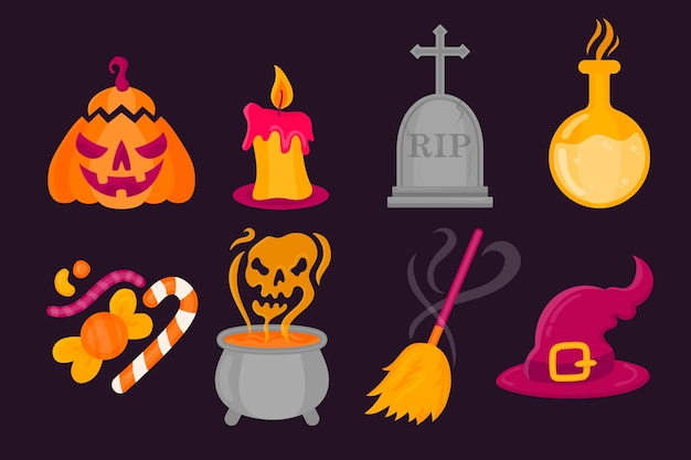 Platte ontwerp halloween element collectie