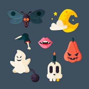 Platte ontwerp halloween element collectie