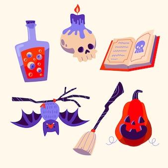 Platte ontwerp halloween element pack