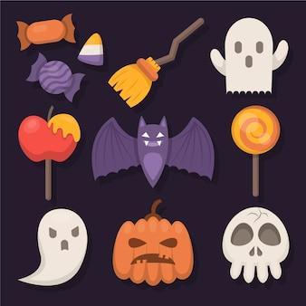 Platte ontwerp halloween elementen collectie