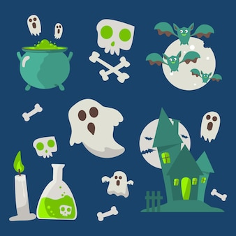 Platte ontwerp halloween elementen instellen