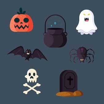 Platte ontwerp halloween elementen pack