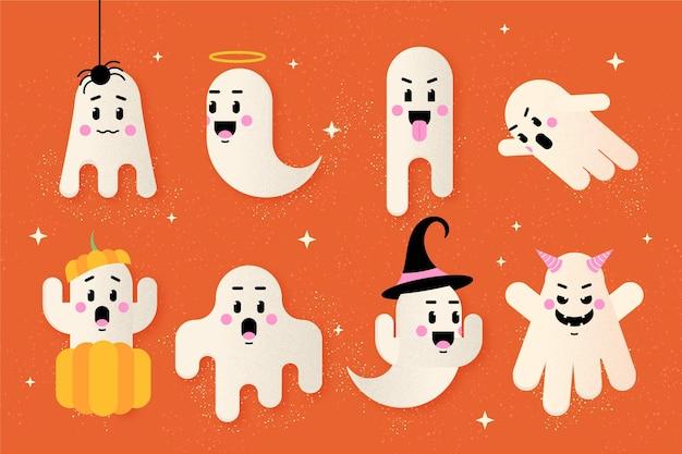Platte ontwerp halloween geest set