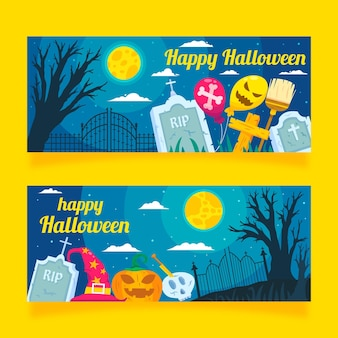 Platte ontwerp halloween horizontale banners