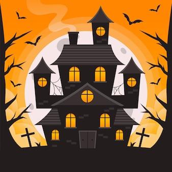 Platte ontwerp halloween huis met begraafplaats