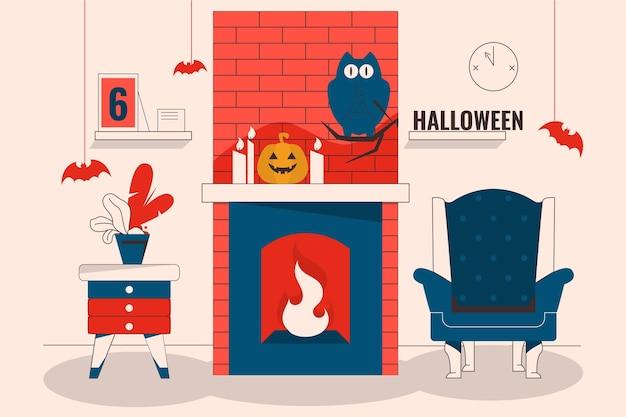 Platte ontwerp halloween ingerichte kamer