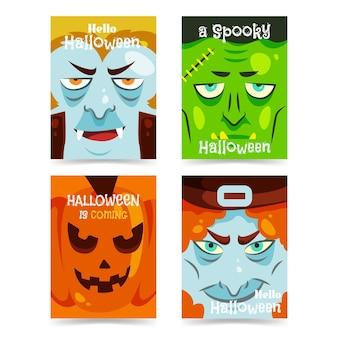 Platte ontwerp halloween kaartenset