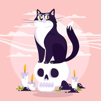 Platte ontwerp halloween kat