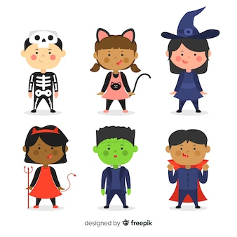 Platte ontwerp halloween kind collectie Gratis Vector