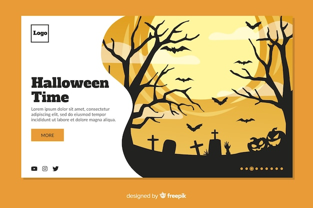 Platte ontwerp halloween landing paginasjabloon
