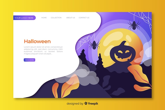 Platte ontwerp halloween landing paginasjabloon