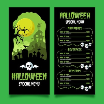 Platte ontwerp halloween menusjabloon